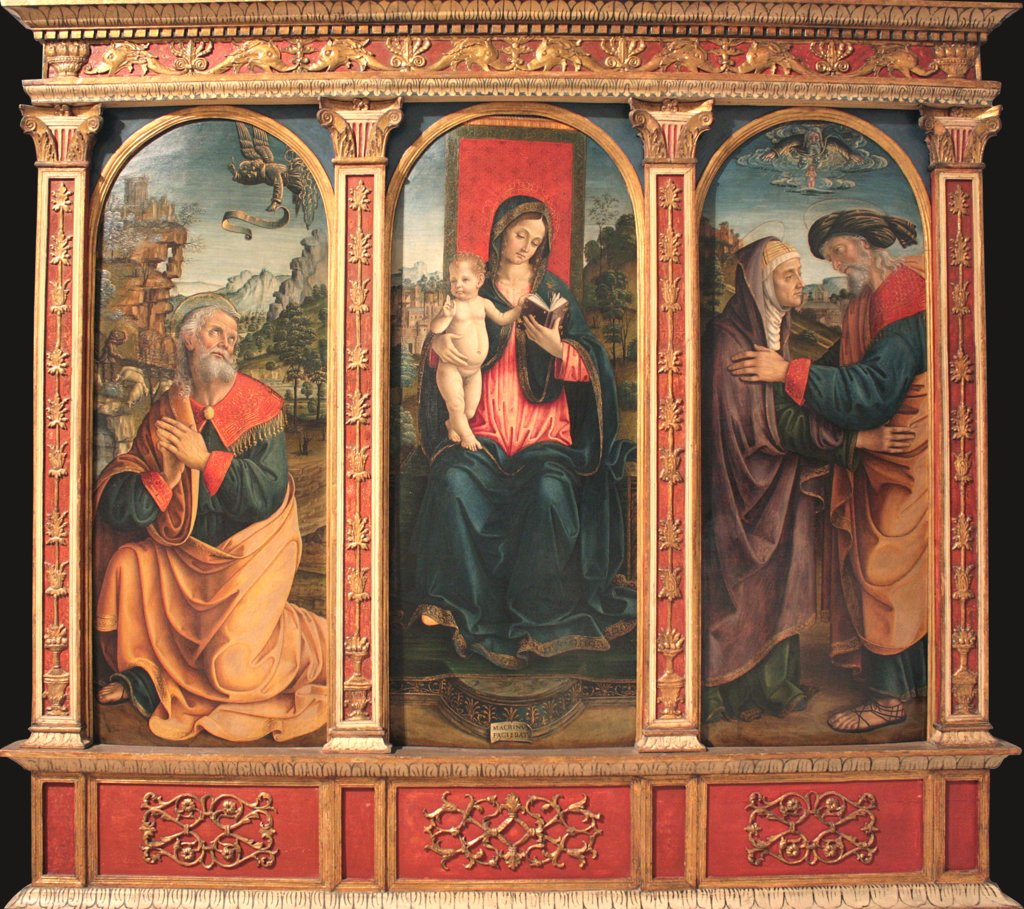 Virgin and Child, The Annunciation to Joachim, and The Meeting at the Golden Gate, Macrino d'Alba