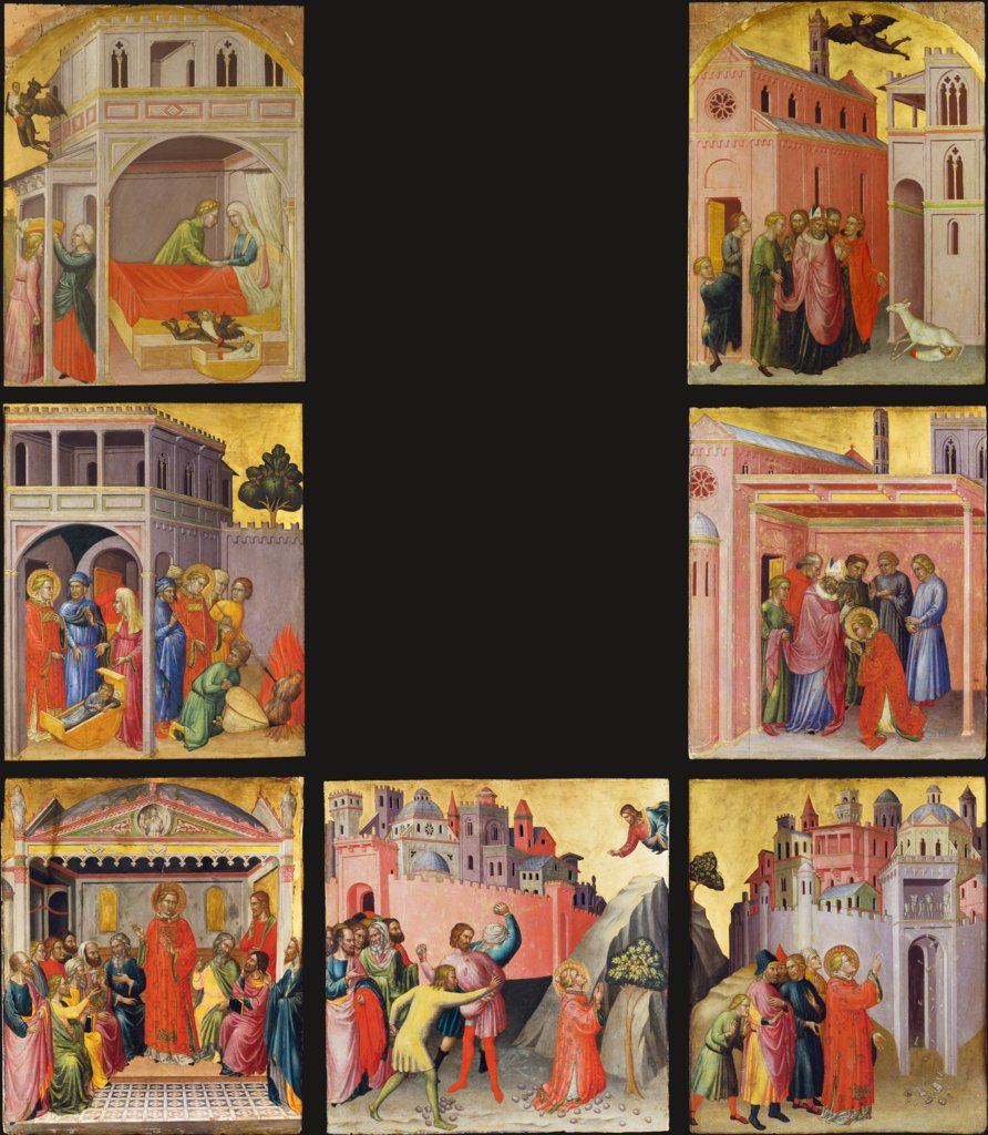 Seven Scenes from the Legend of St. Stephen: Exchange and Abduction, Bishop Julian's Finding of the True Child, Destruction of the Pagan Idols, Return of the Saint and Burning of the Changeling, Departure from Bishop Julian, Dispute with the Libertine..., Martino di Bartolomeo
