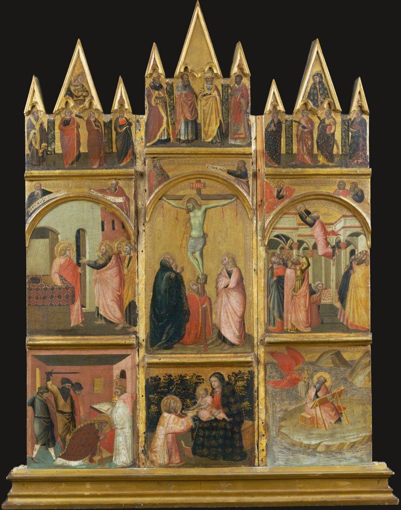 Crucifixion, Virgin and Child, Deacon and Scenes from the Legends of Saints Matthew and John the Evangelist, Pietro Lorenzetti  Werkstatt