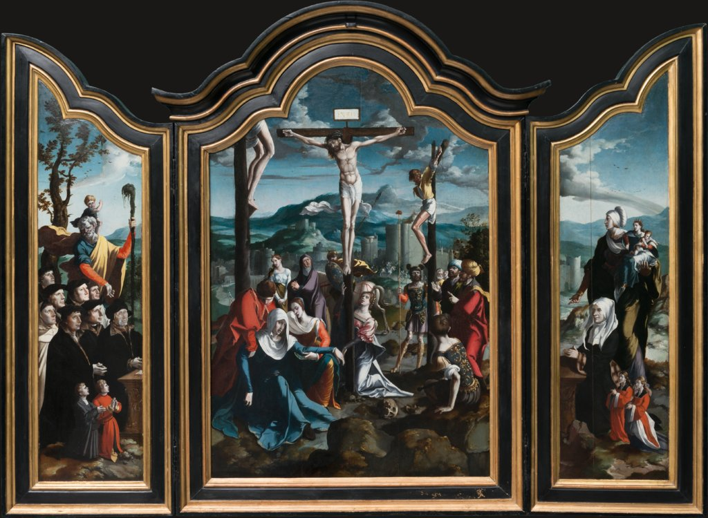 Triptych with the Crucifixion, Saints and Donors, North Netherlandish Master ca. 1530, Jan Swart   ?