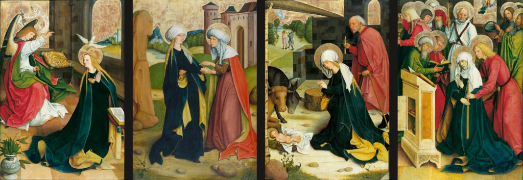 Pfullendorf Altarpiece: Annunciation, Visitation, Nativity, Death of the Virgin, Master of the Pfullendorf Altar, Bartholomäus Zeitblom  Werkstatt ?