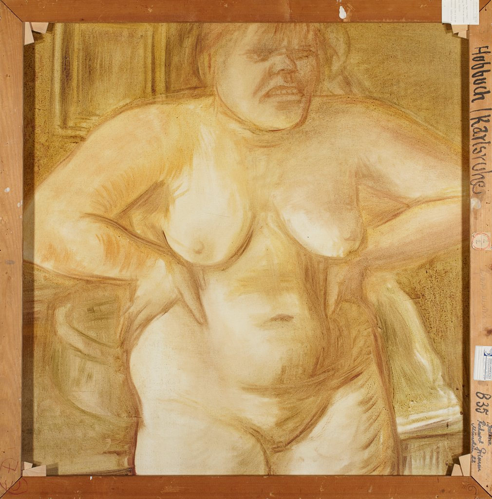 Female nude (half figure) with wash bowl in front of a table, Karl Hubbuch