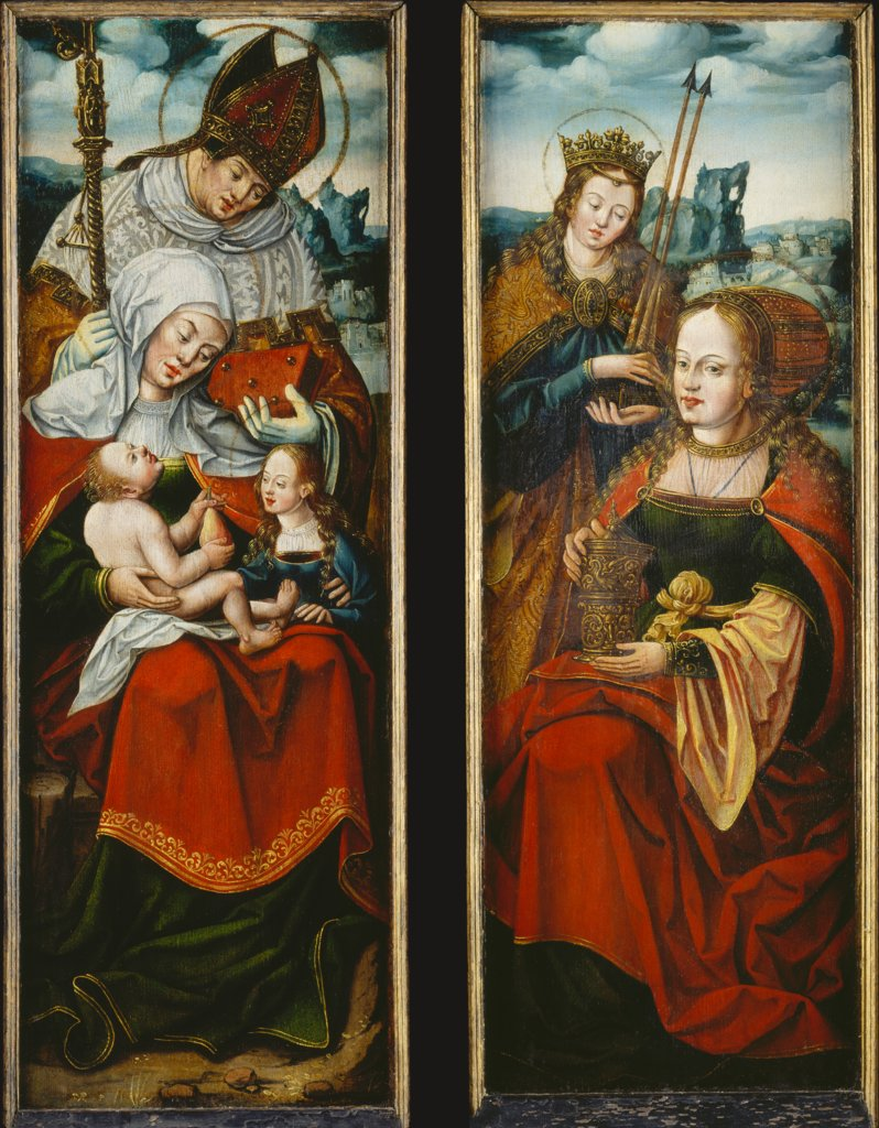 Left and Right Wing of an Altarpiece with St Anne with the Virgin and Child on her Lap, a Holy Bishop, St Magdalen and St Ursula, Anton Woensam von Worms  succession