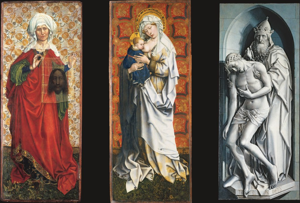 The Flémalle Panels: St. Veronica with the Veil, Madonna Breastfeeding, The Trinity, Master of Flémalle, Robert Campin  workshop