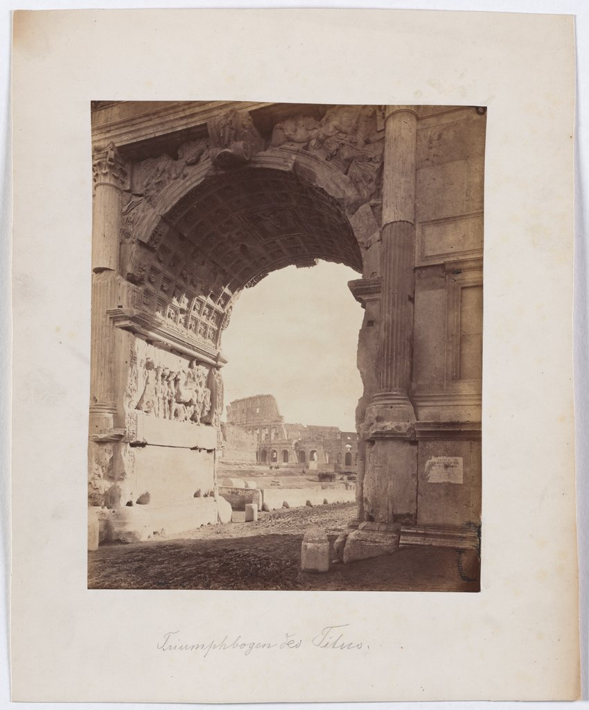 Rome: View through the Arch of Titus to the Colosseum, Unknown, 19th century