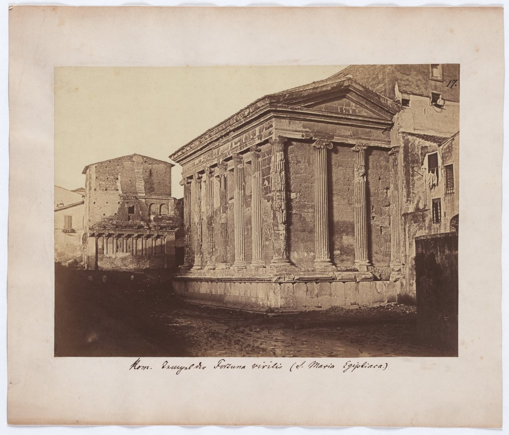 Rome: View of the temple of Fortuna virilis, Unknown, 19th century