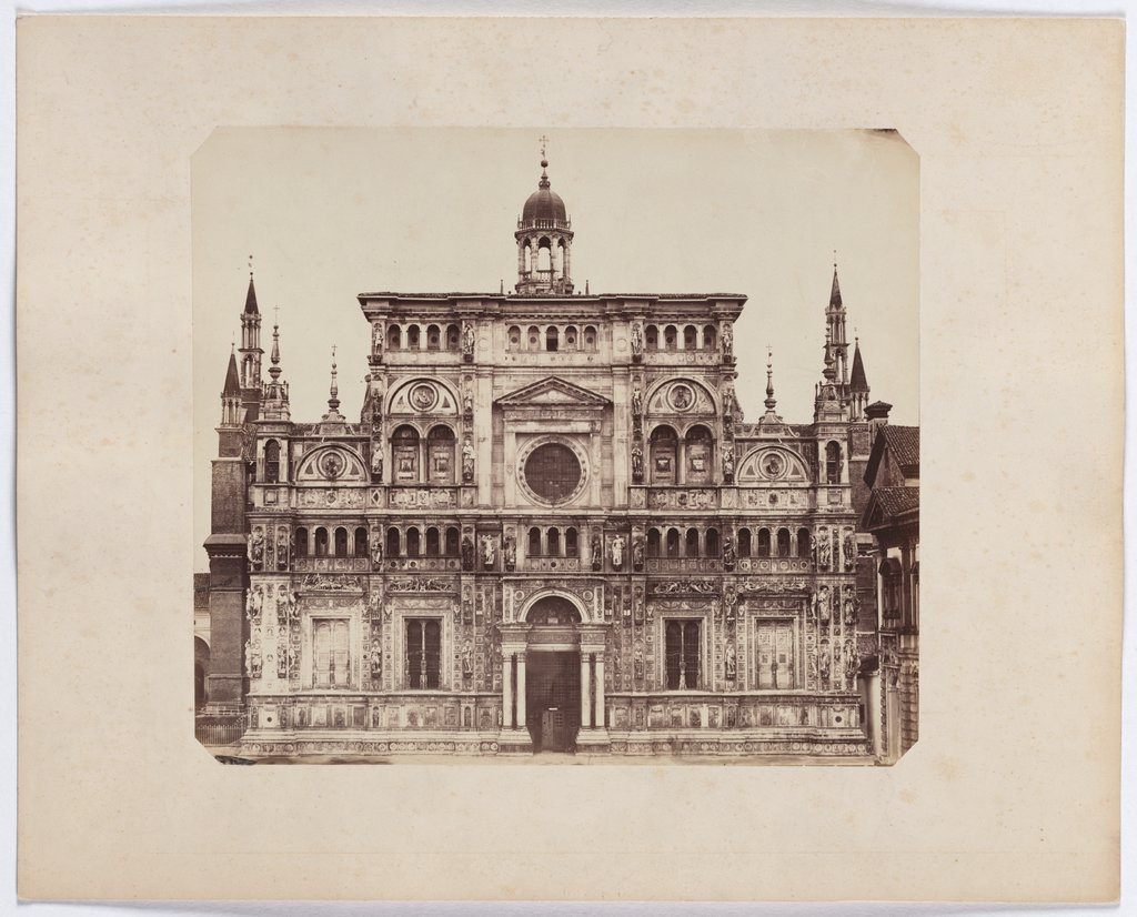 The Charterhouse of Pavia: view of the facade of the church, Unknown, 19th century