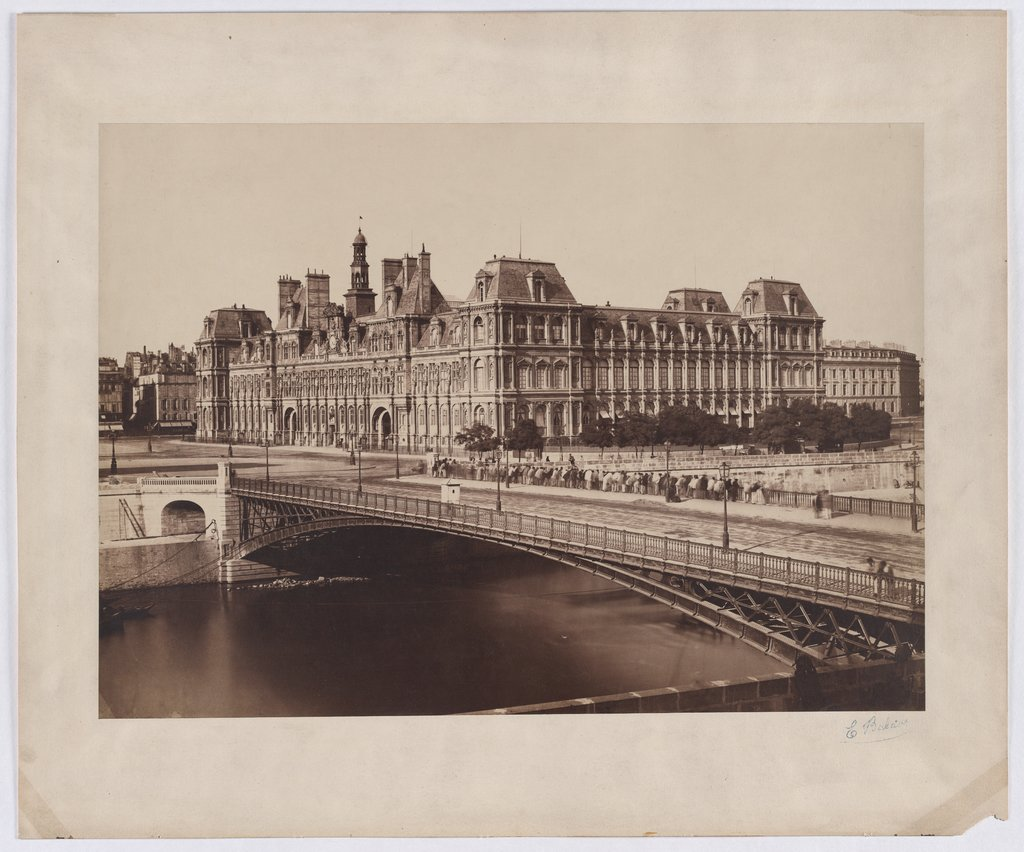 Paris: Blick auf Pont d'Arcole and City Hall, Édouard Baldus