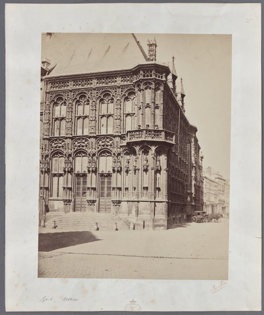 Ghent: View of the city hall, Bisson Frères