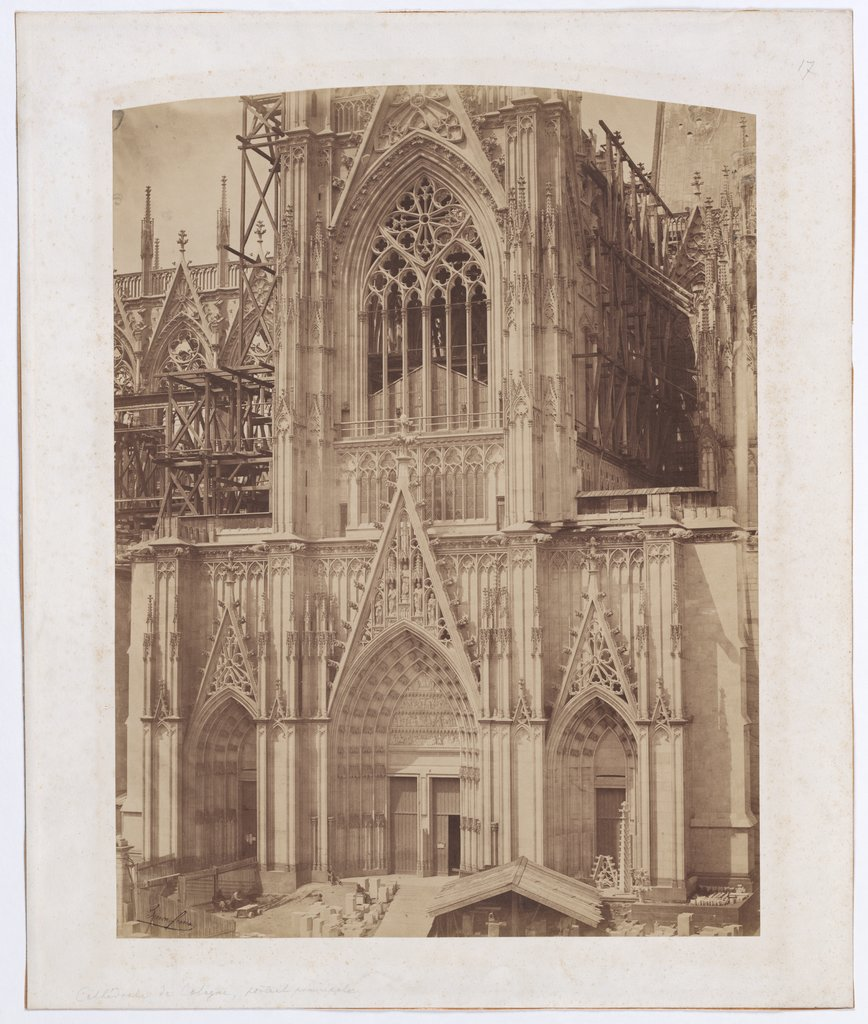 Cologne: The south facade of the cathedral under construction, Bisson Frères