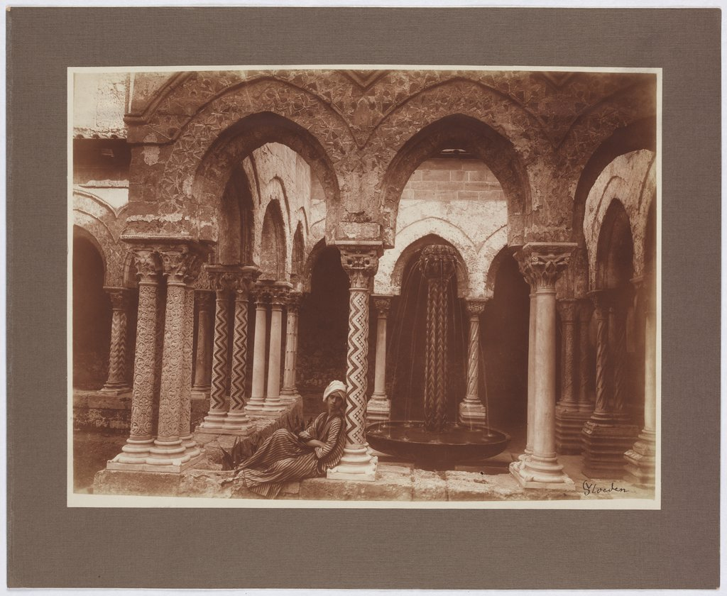Palermo: Young man in Arab costume in the cloister of Monreale, Wilhelm von Gloeden