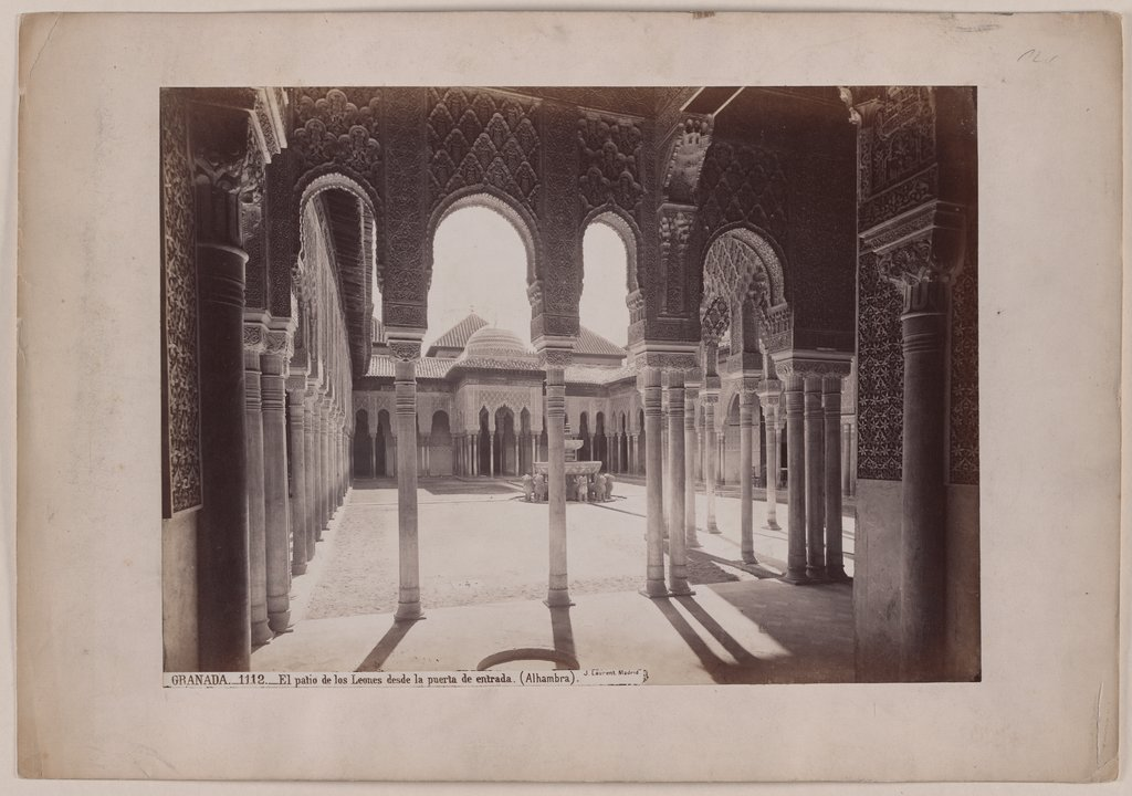 Granada: View into the lion court of the Alhambra, Jean Laurent y Minier