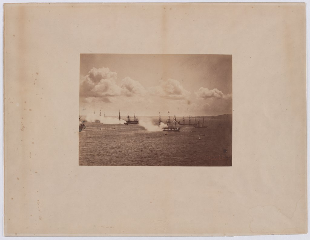 Salute of the French fleet off Cherbourg, Gustave Le Gray