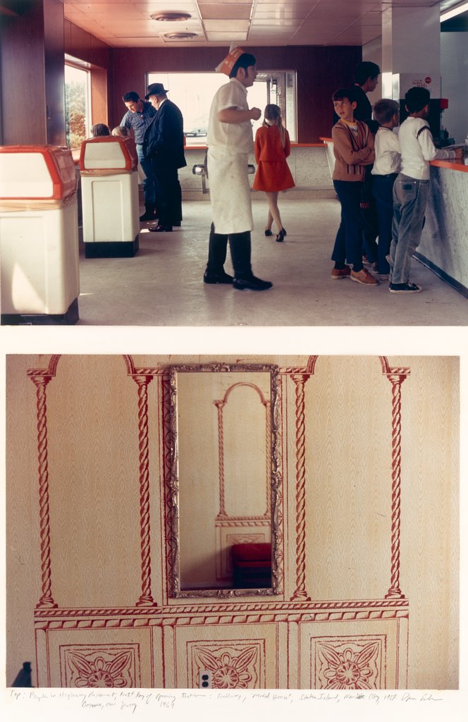 "Top: People in Highway Restaurant, First Day of Opening, Bayonne, NJ Bottom: Hallway ""Model Home"", Staten Island, NYC, Dan Graham"