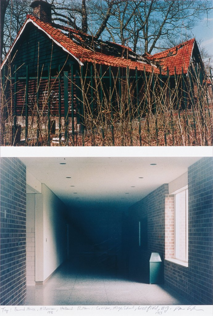 Top: Burned House, Hilversum, Holland, 1996 : Bottom: Corridor of Junior High School, Westfield, NJ, 1965, Dan Graham