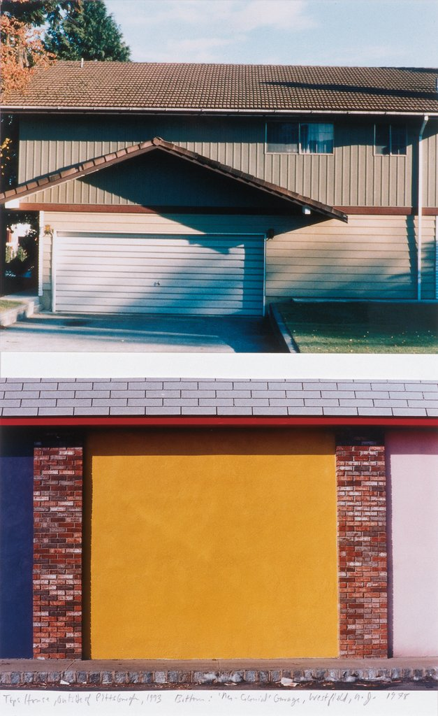 Top: House Outside of Pittsburgh, 1993 : Bottom: 'Neo-Colonial' Garage, Westfield, NJ, 1978, Dan Graham