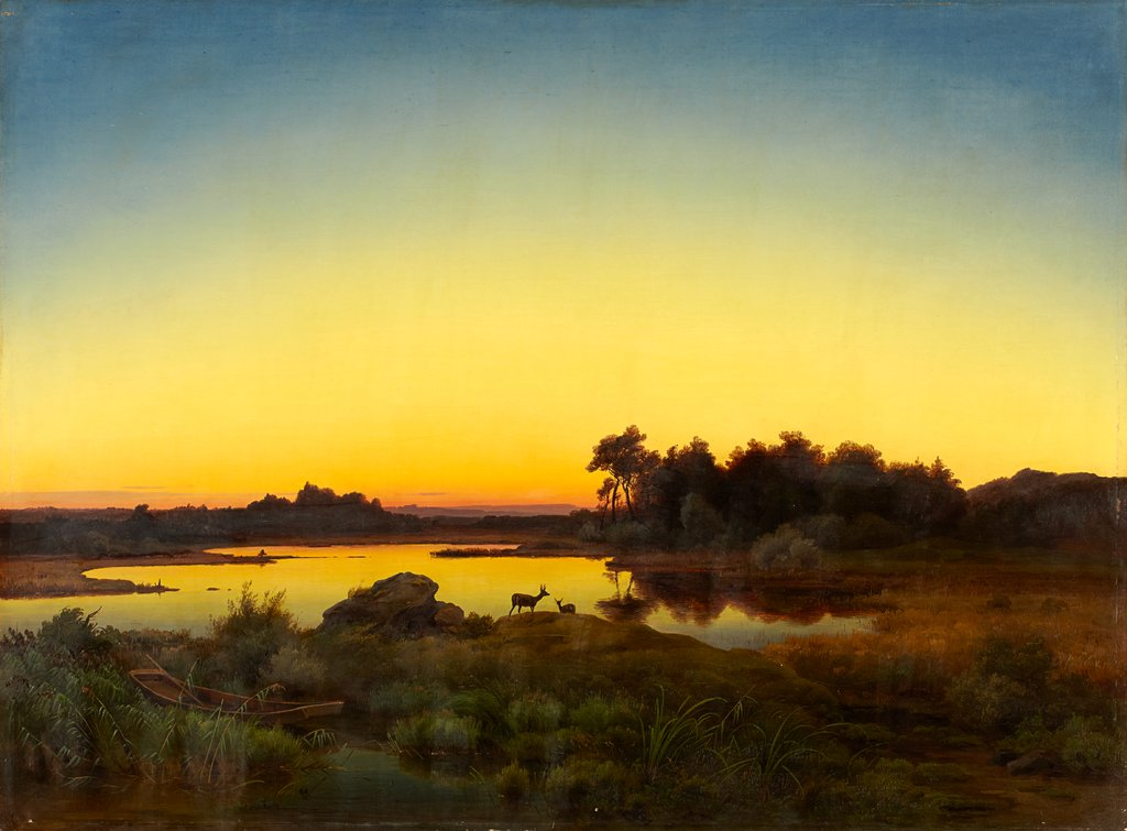 Landscape with Deer at Sunset, Anton Zwengauer