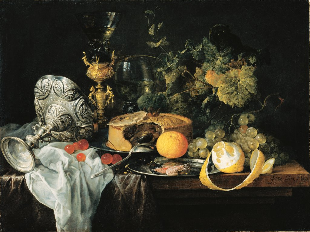 Sumptuous Still Life with Fruits, Pie and Goblets, Jan Davidsz. de Heem