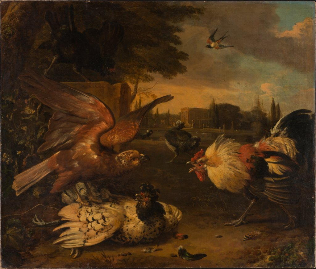 A Cock Defends a Hen from an Attacking Bird of Prey, Melchior de Hondecoeter
