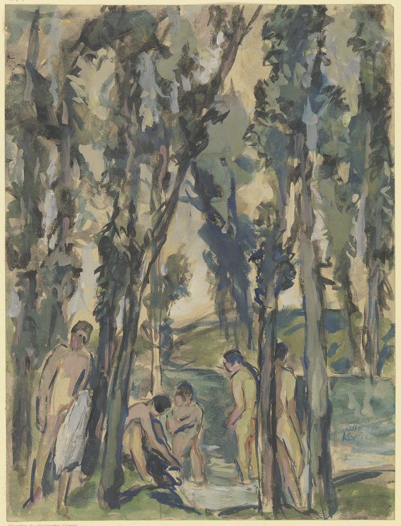 Forest stream with bathing people, Otto Kopp