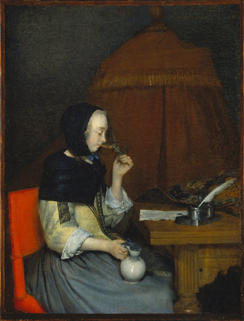 Woman with Wine Glass, Gerard ter Borch the Younger