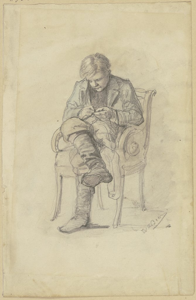 Young man on a chair, Wilhelm Amandus Beer