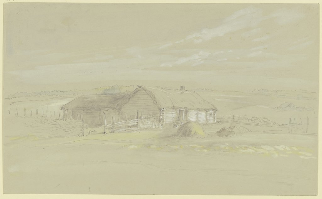 Farmstead with straw roof, Wilhelm Amandus Beer
