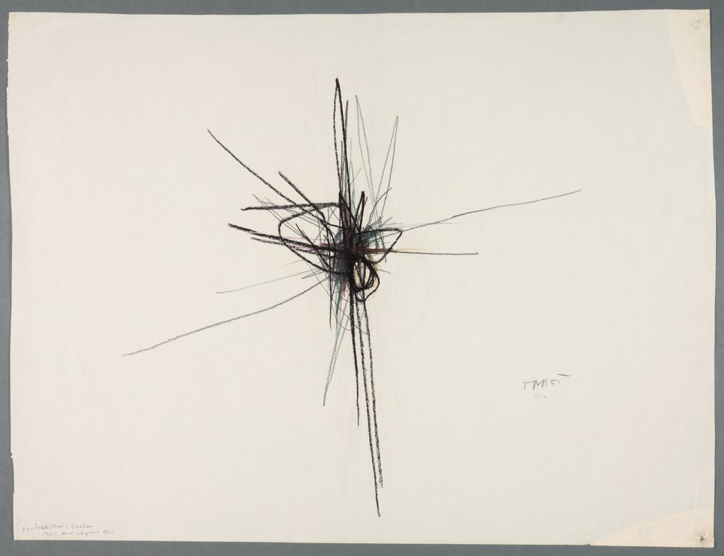 Blind overdrawing of a central crucifixion, Arnulf Rainer