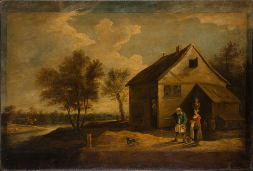 Landscape with Peasants in Front of their Farm, David Teniers the Younger  Schule