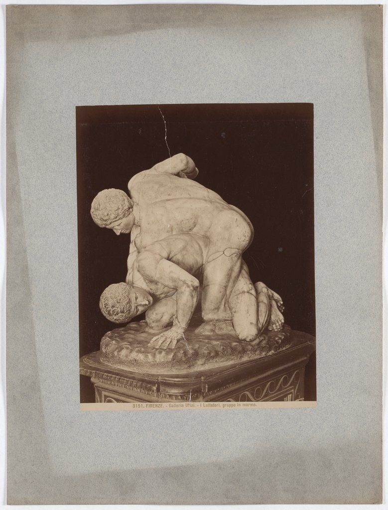 Florence: Uffizi Gallery,The Wrestlers, Marble group, No. 3151, Giacomo Brogi