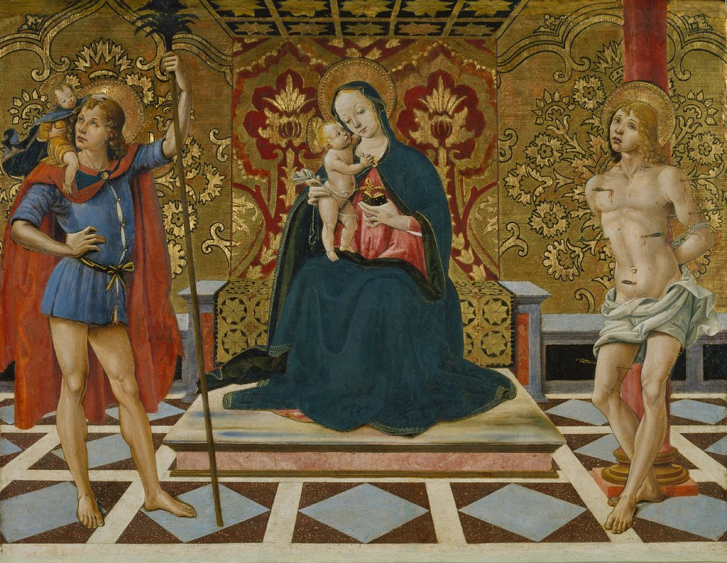 Virgin and Child Enthroned with Saints Christopher and Sebastian, Fiorenzo di Lorenzo   ?