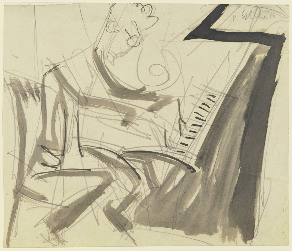 Klemperer at the piano, Ernst Ludwig Kirchner