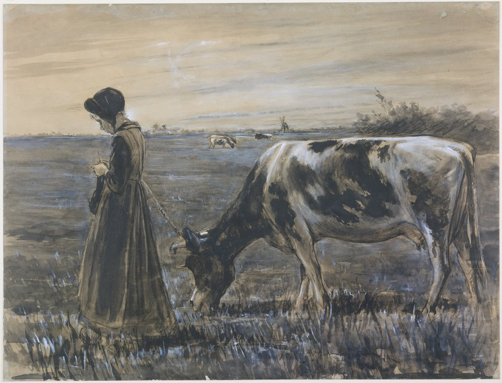 Girl with cow, Max Liebermann