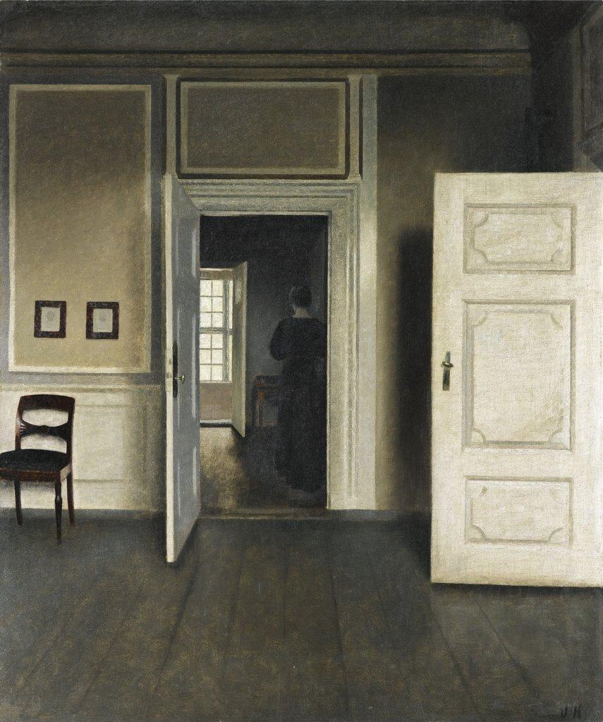 Interieur mit Maler, lesender Dame und kehrender Magd - Digitale ...