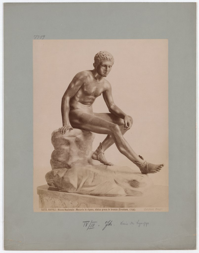 Naples: National Museum, Mercury at rest, Greek bronze statue, No. 5272, Giacomo Brogi