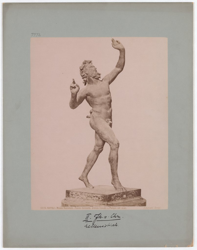 Naples: National Museum, Dancing Faun, bronze found in Pompeii in 1830, No. 5276, Giacomo Brogi