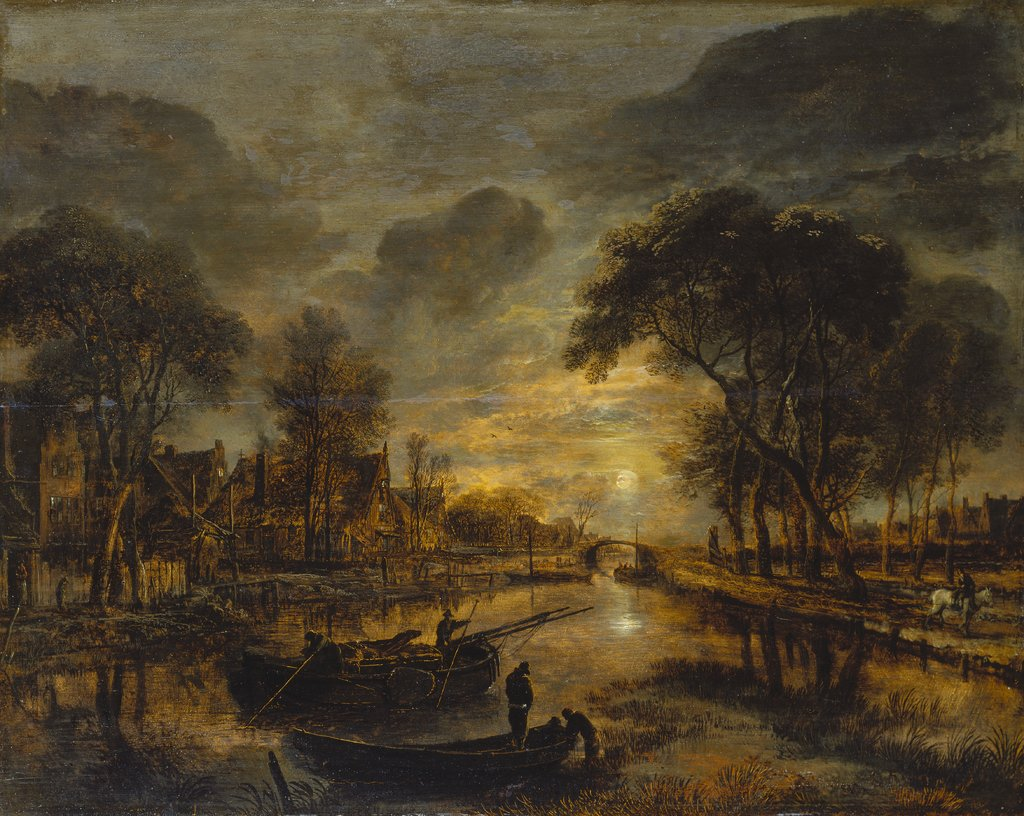 Nocturnal Canal Landscape with Fishing Boats, Aert van der Neer