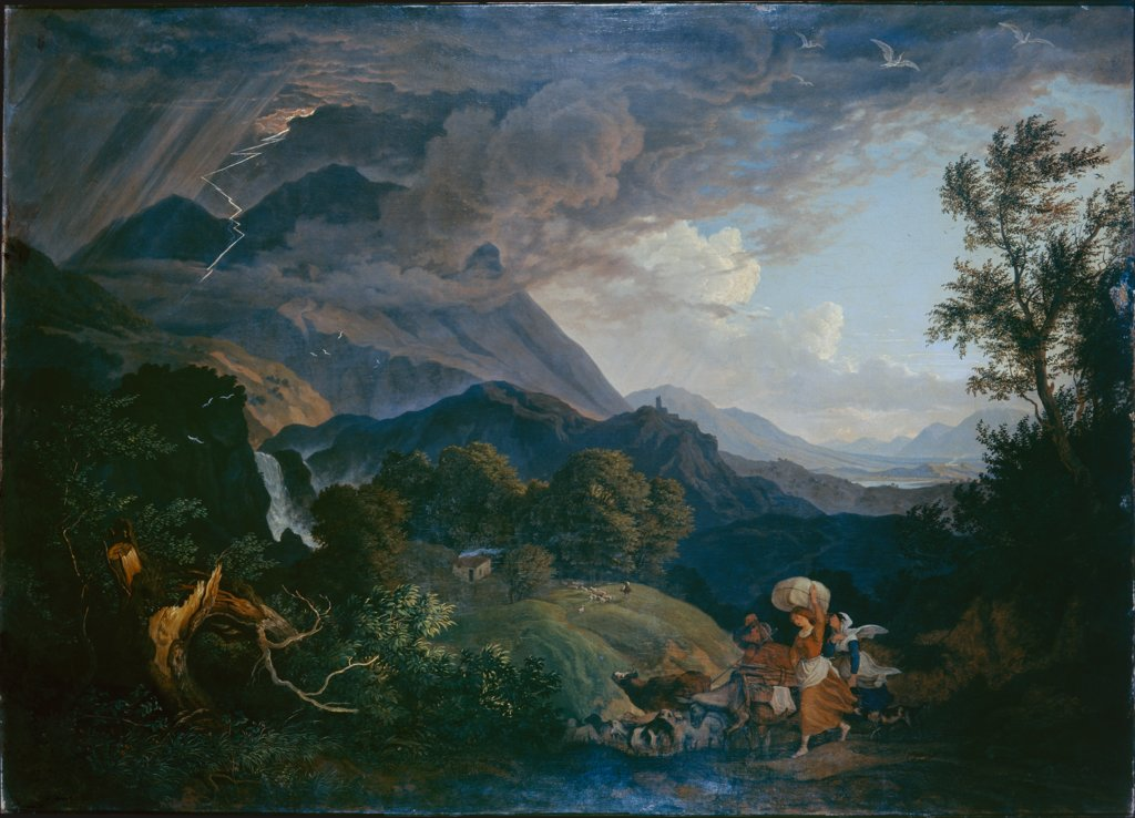 Thunderstrom over Monte Scalambra near Olevano in the Sabine Mountains, Ludwig Richter