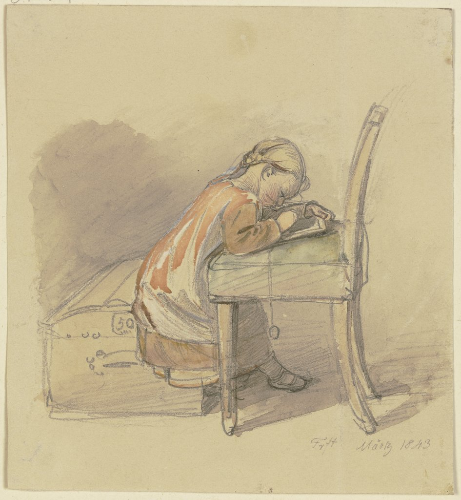 Writing girl, Jakob Fürchtegott Dielmann