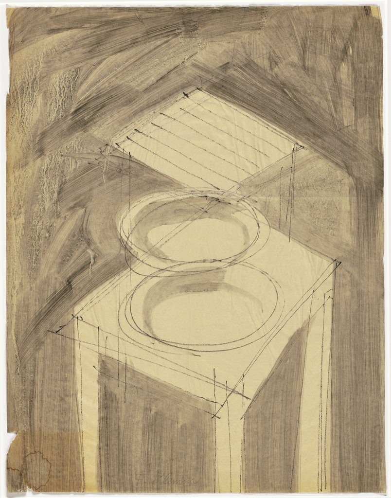 Two plates on a stool, Fritz Klemm