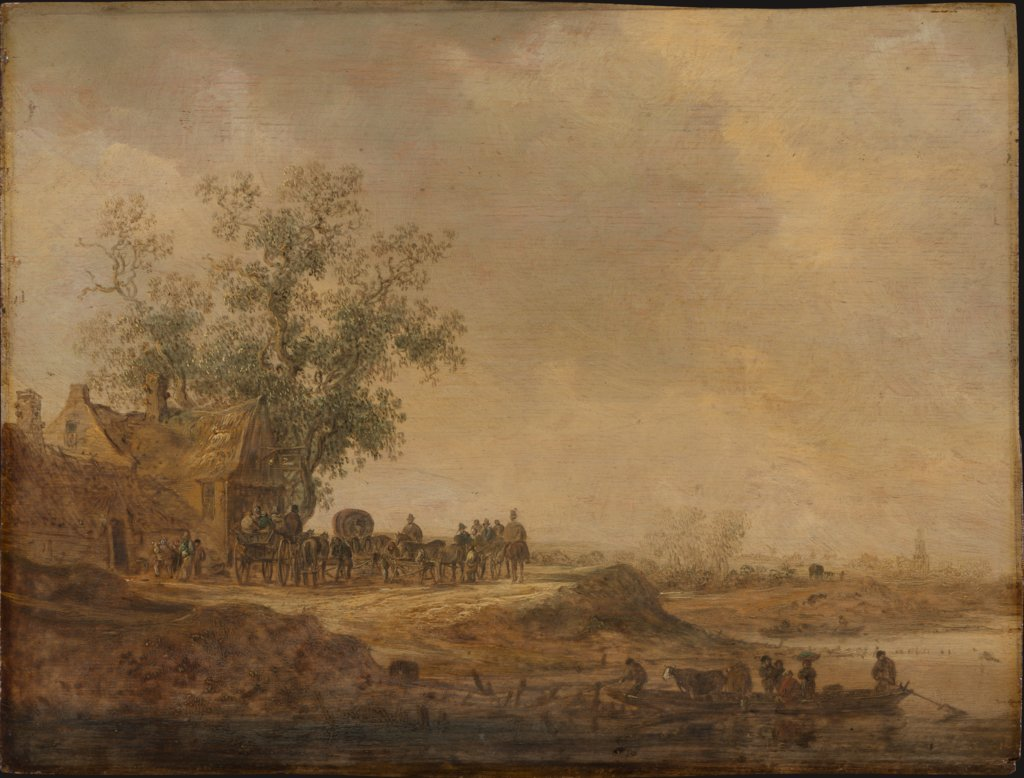 The Stop before the Inn, Jan van Goyen