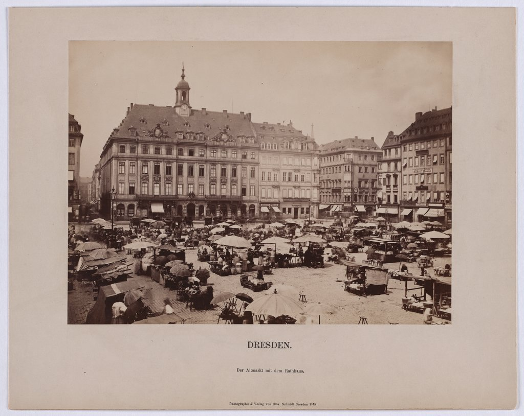 Dresden. The Altmarkt with the town hall,