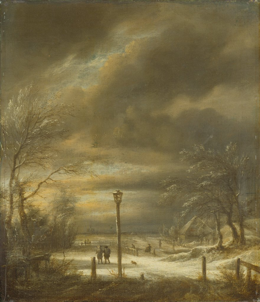 Winter Landscape near Haarlem with a Lamppost, Jacob Isaacksz. van Ruisdael