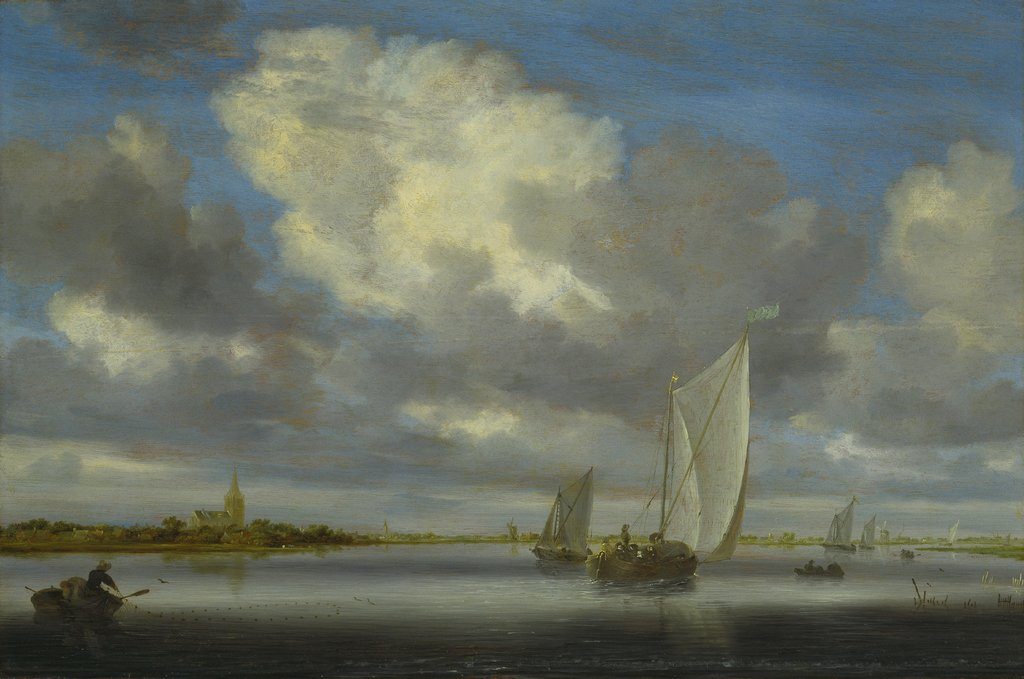 Fishing and Sailing Boats under a Broad Sky, Salomon van Ruysdael