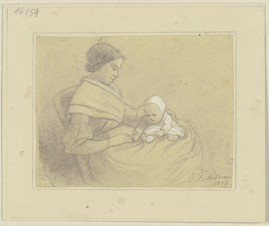Mother with child, Jakob Fürchtegott Dielmann