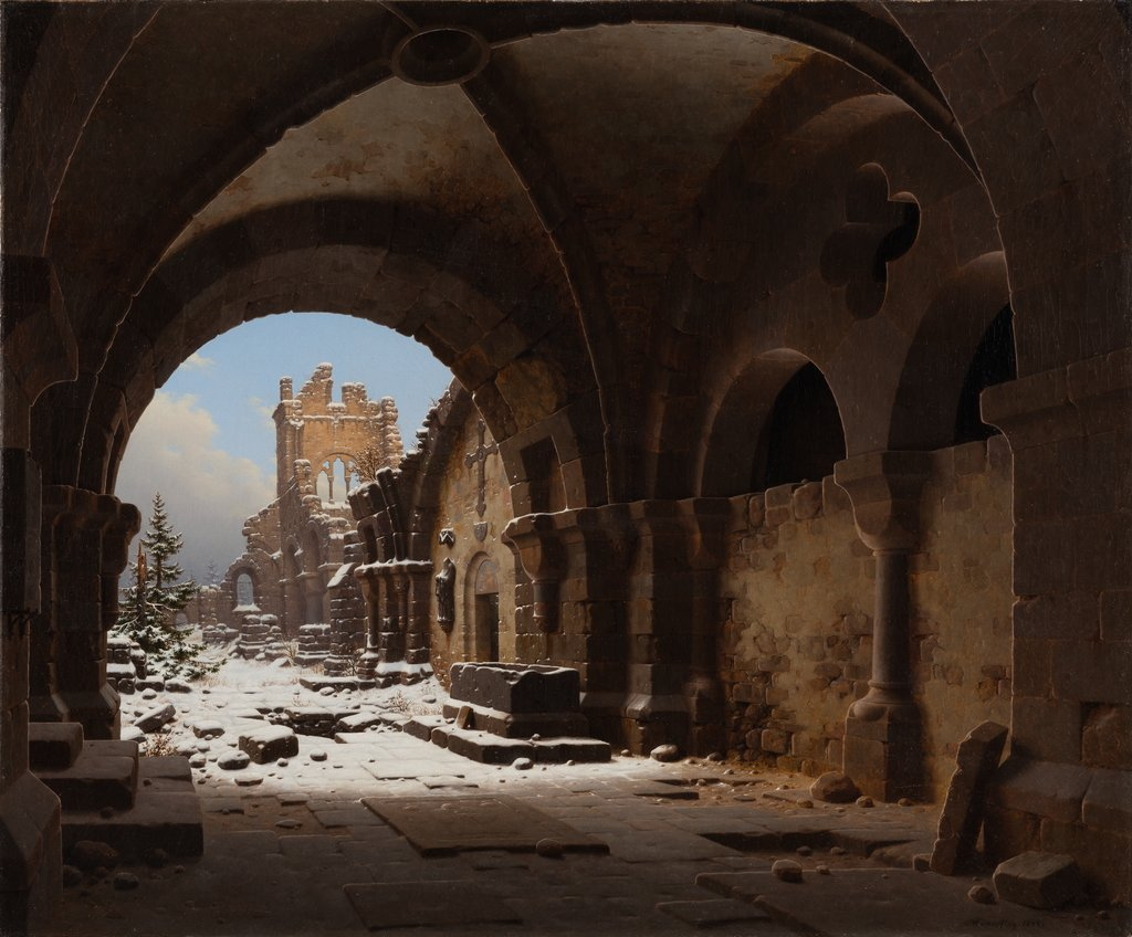 Church Ruin in Winter, Carl Georg Adolph Hasenpflug