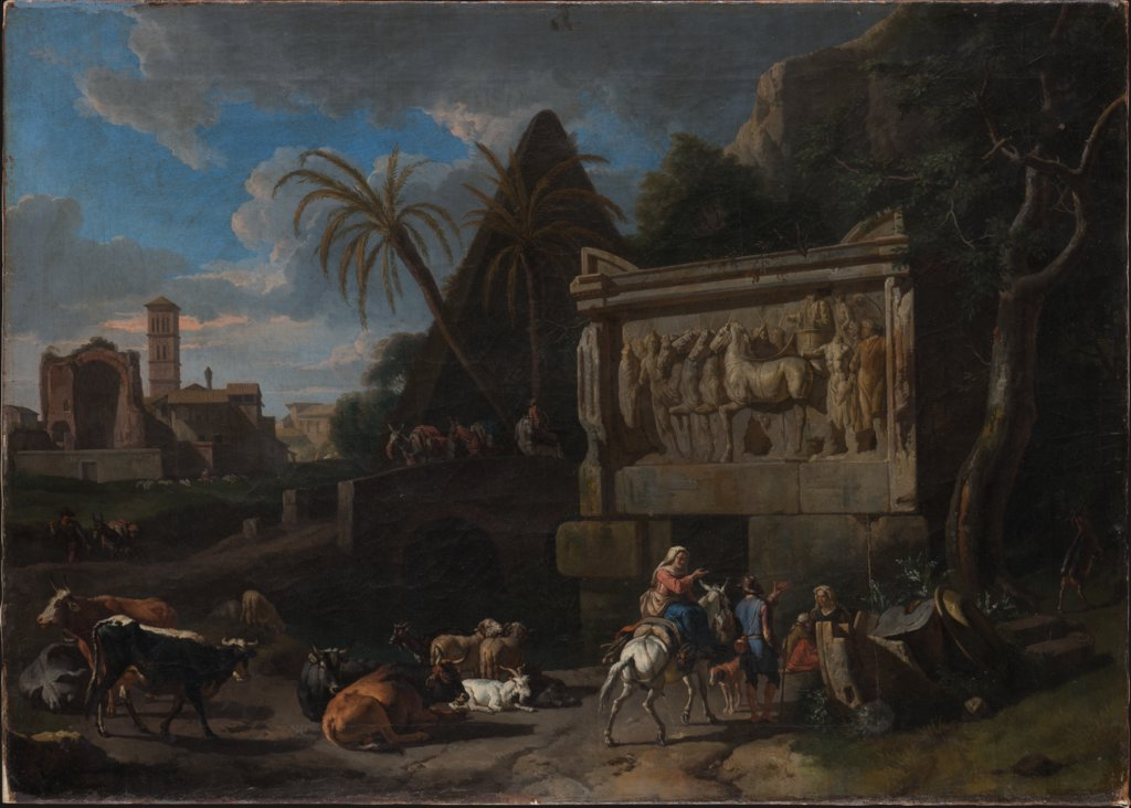 Landscape with Ancient Ruins, a Resting Flock in the Front, Pieter van Bloemen