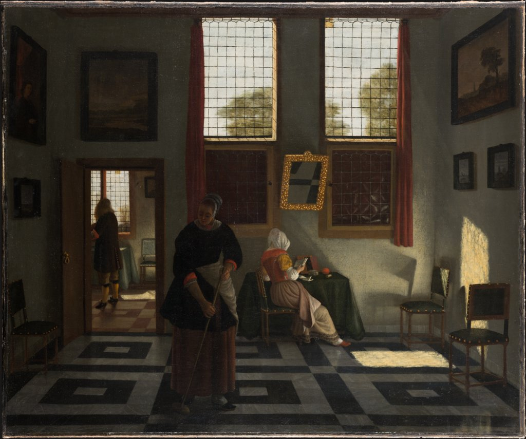 Interior with Painter, Woman Reading and Maid Sweeping, Pieter Janssens