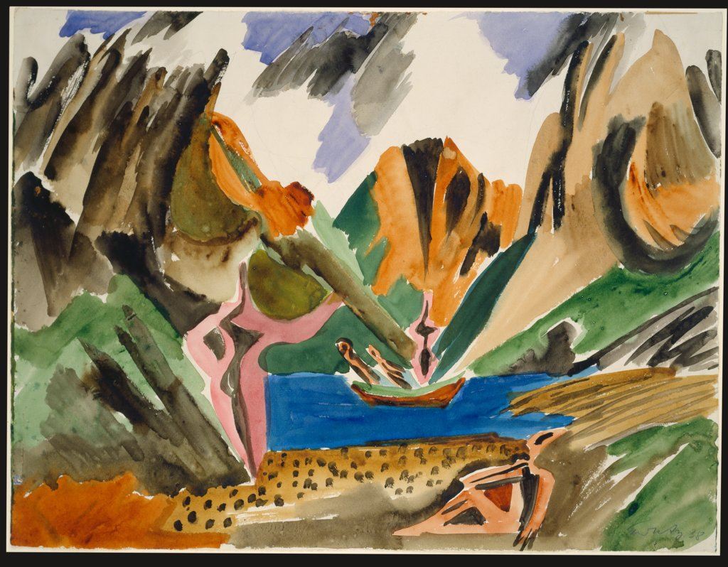 Lofoten Landscape with Lake and Rowing Boat, Ernst Wilhelm Nay
