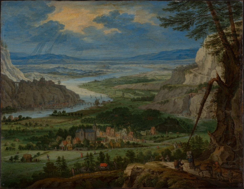 River Landscape with Travelers, Peeter Gijsels
